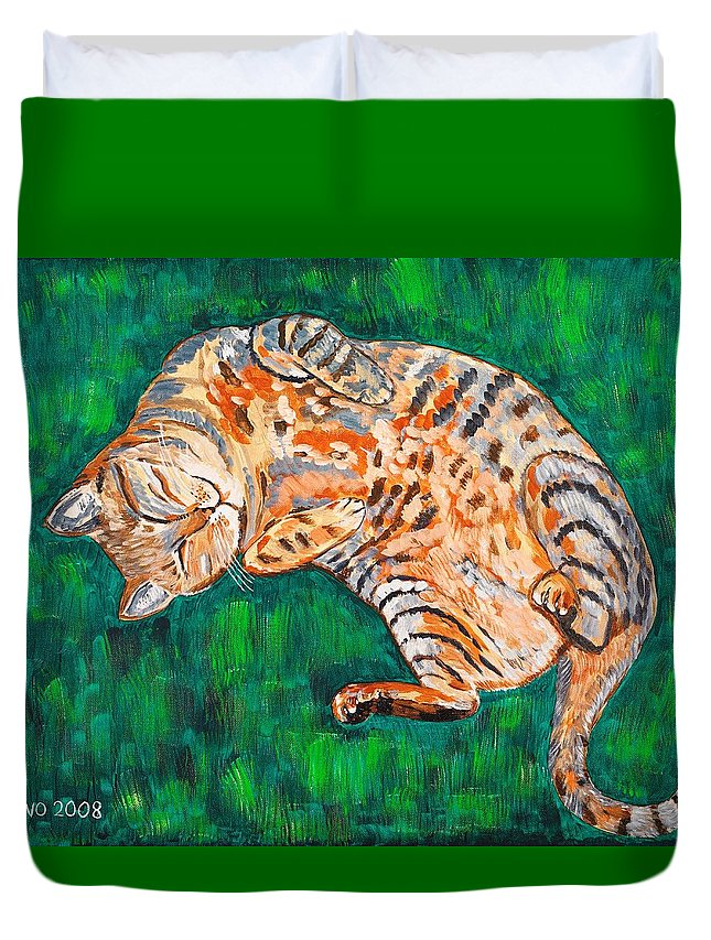 Siesta Duvet Cover featuring the painting Siesta by Valerie Ornstein
