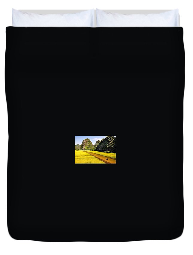 Duvet Cover featuring the photograph sighseeing on Ngo Dong river by Ngoc Anh Vu