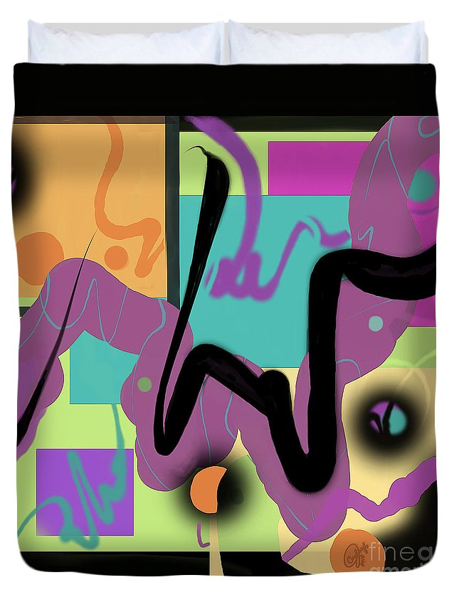 Sign Duvet Cover featuring the digital art Sign Here by Carol Jacobs