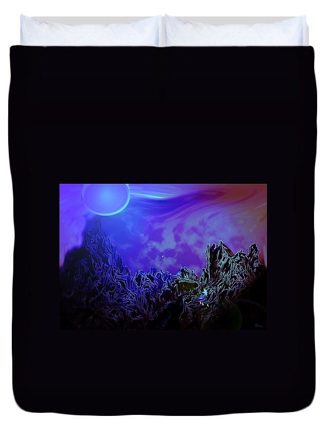 Mountain Moon Flower River Water Planet Sky Life Wild Color Colours Alien Duvet Cover featuring the digital art Sign Of Life by Andrea Lawrence