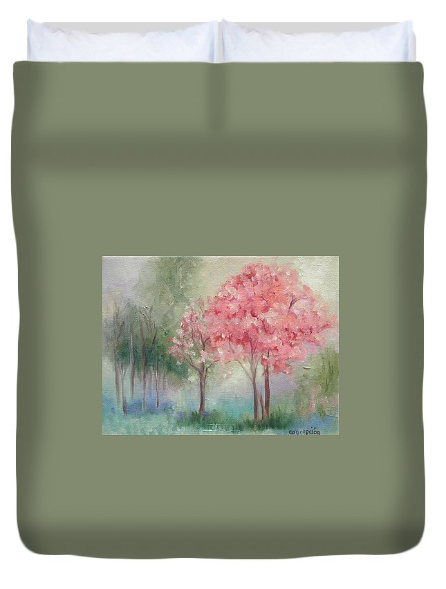 Spring Duvet Cover featuring the painting Sign Of Spring by Ginger Concepcion