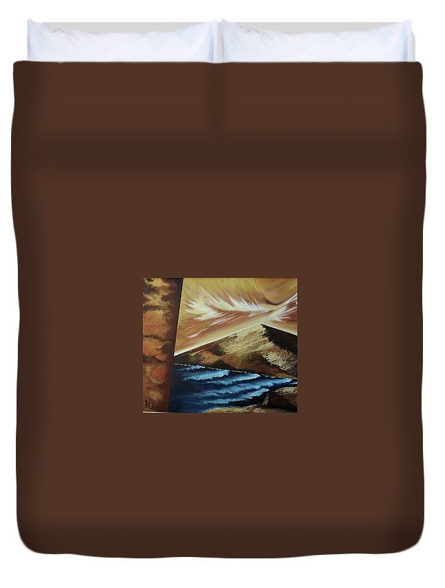 Duvet Cover featuring the painting Sign of Truth by Ara Elena