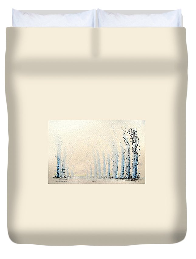 Watercolor Duvet Cover featuring the painting Signals by Dave Martsolf