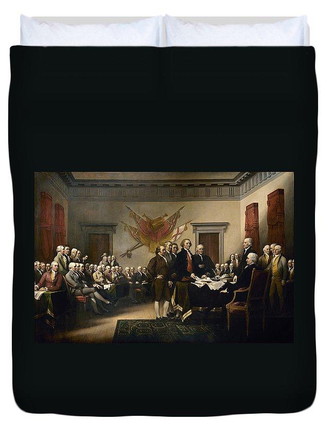 Declaration Of Independence Duvet Cover featuring the painting Signing The Declaration Of Independence by War Is Hell Store