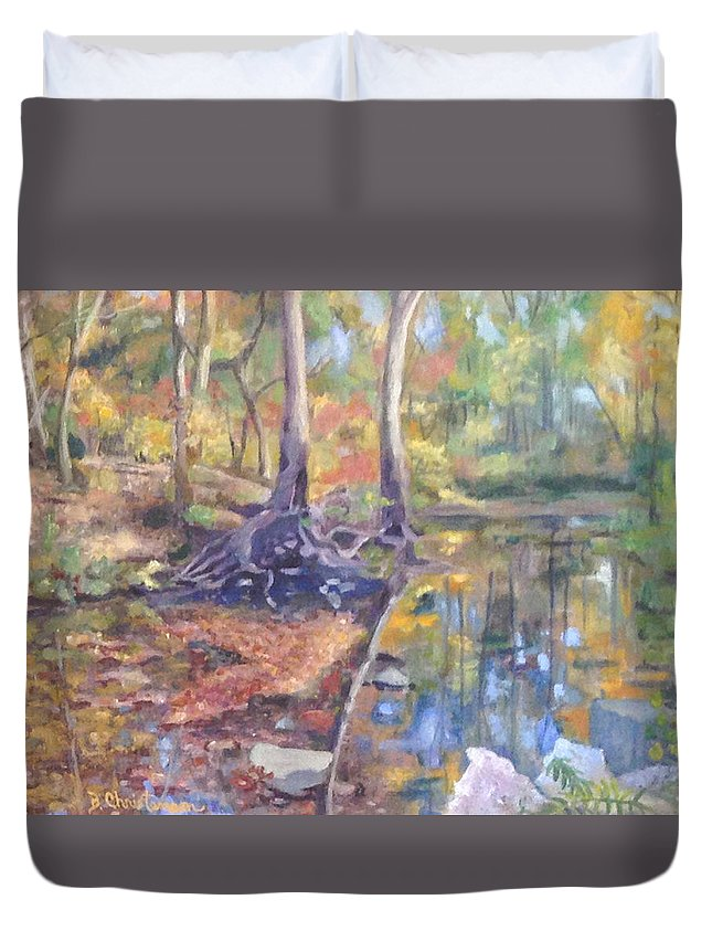 Fall Duvet Cover featuring the painting Signs Of Fall by Becky Christenson
