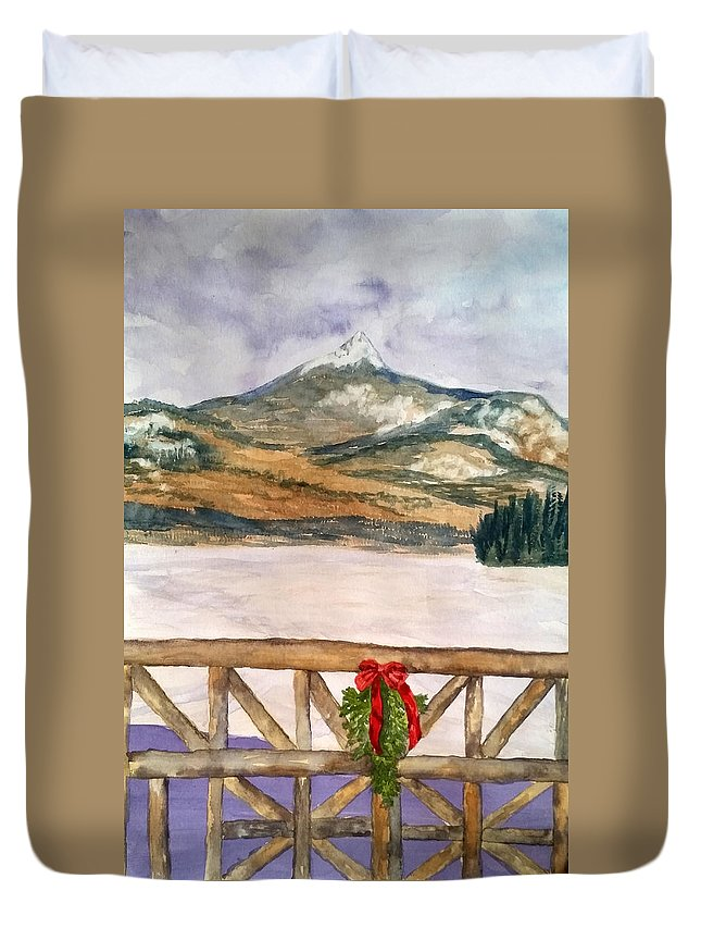 Chocorua Duvet Cover featuring the painting Signs of the Season by Sharon E Allen