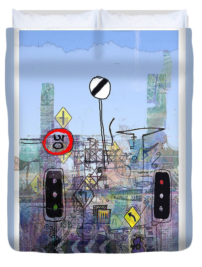 Urban Duvet Cover featuring the digital art Signs Of The Times by Andy Mercer
