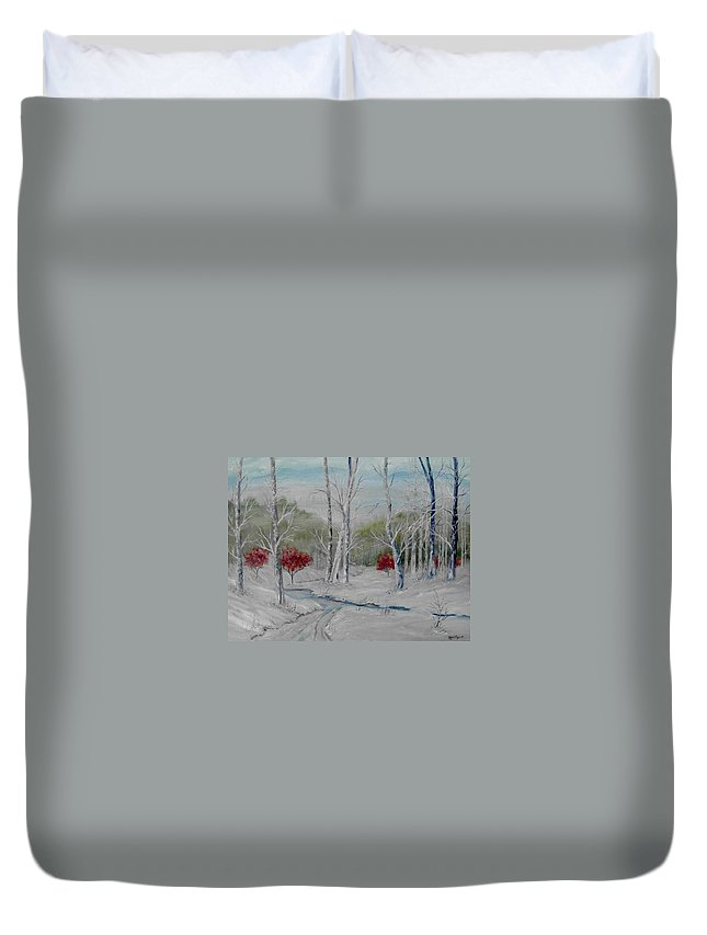 Snow; Winter; Birch Trees Duvet Cover featuring the painting Silence by Ben Kiger