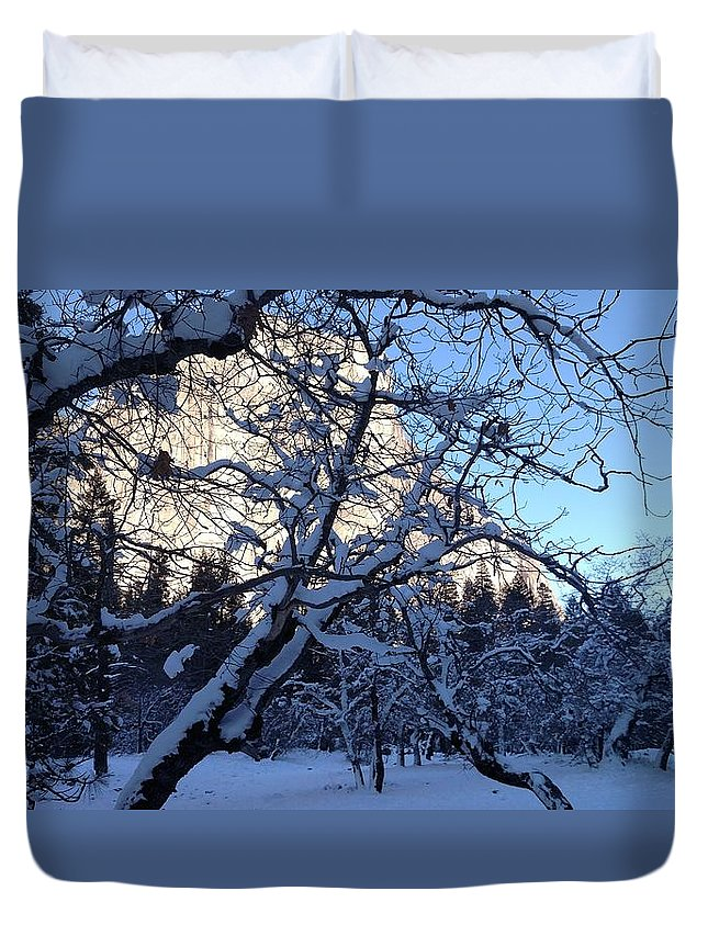 Snow Duvet Cover featuring the photograph Silence In The Trees Yosemite by Tiffani Burkett