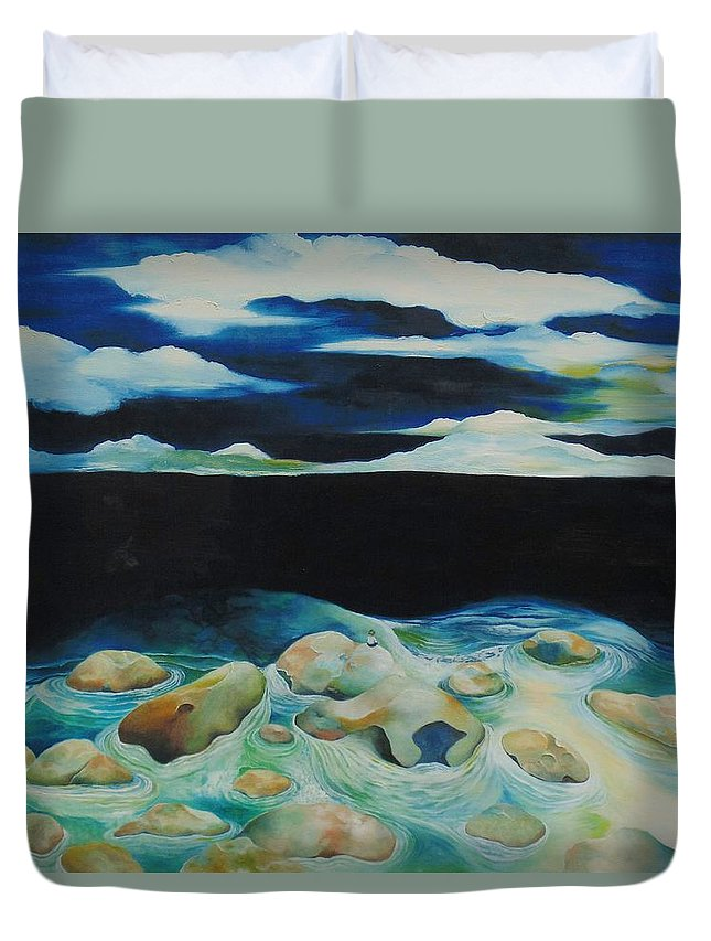 Oil Duvet Cover featuring the painting Silence by Peggy Guichu