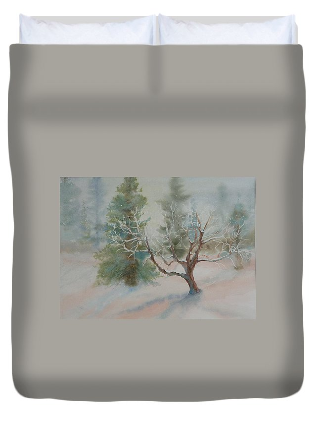Snow Duvet Cover featuring the painting Silence by Ruth Kamenev