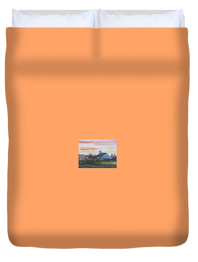 Watercolor Duvet Cover featuring the painting Silence Upon Midnapore by Anna Duyunova