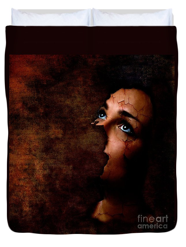 Surreal Duvet Cover featuring the digital art Silenced by Jacky Gerritsen