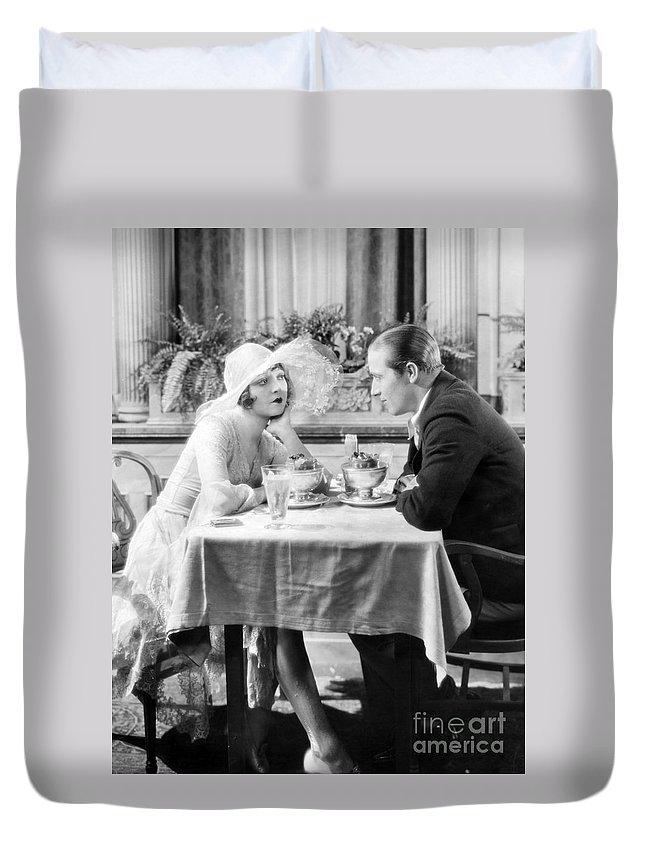 -eating Restaurants- Duvet Cover featuring the photograph Silent Film: Restaurants by Granger