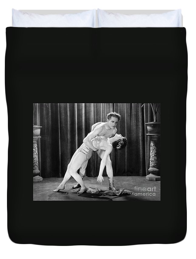 -dancing- Duvet Cover featuring the photograph Silent Film Still: Dancing by Granger