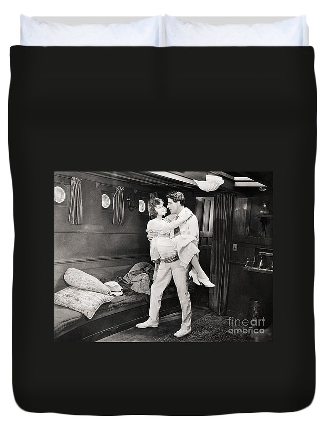 1920s Duvet Cover featuring the photograph Silent Film Still: Ships by Granger