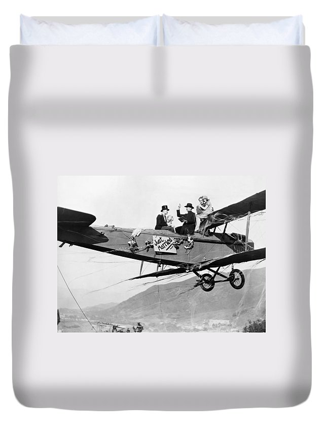 -stunts- Duvet Cover featuring the photograph Silent Film Still: Stunts by Granger