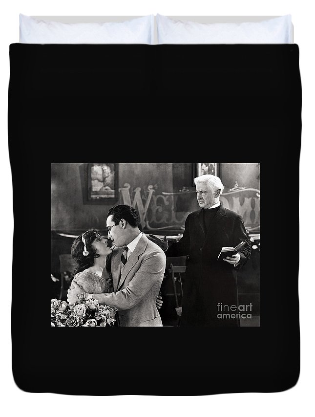 -nec09- Duvet Cover featuring the photograph Silent Film Still: Wedding by Granger