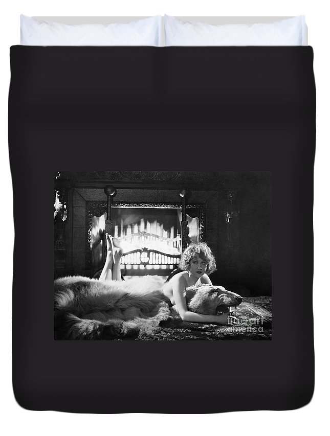 -women Single Figures- Duvet Cover featuring the photograph Silent Film Still: Woman by Granger