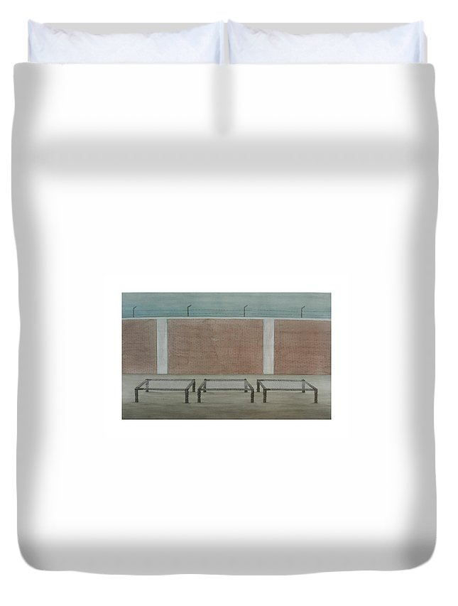 Landscape Duvet Cover featuring the painting Silent Meeting by Gulab Kapadiya