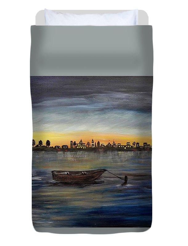 Landscape/seascape Duvet Cover featuring the painting Silent Night At Sea by Corina Lupascu
