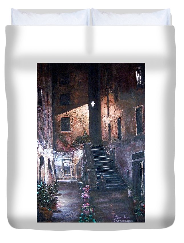 Night Duvet Cover featuring the painting Silent Night by Claudia Croneberger
