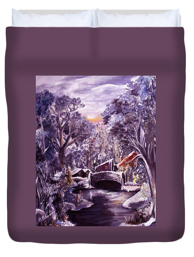 Landscape Duvet Cover featuring the painting Silent Night by Ruth Palmer