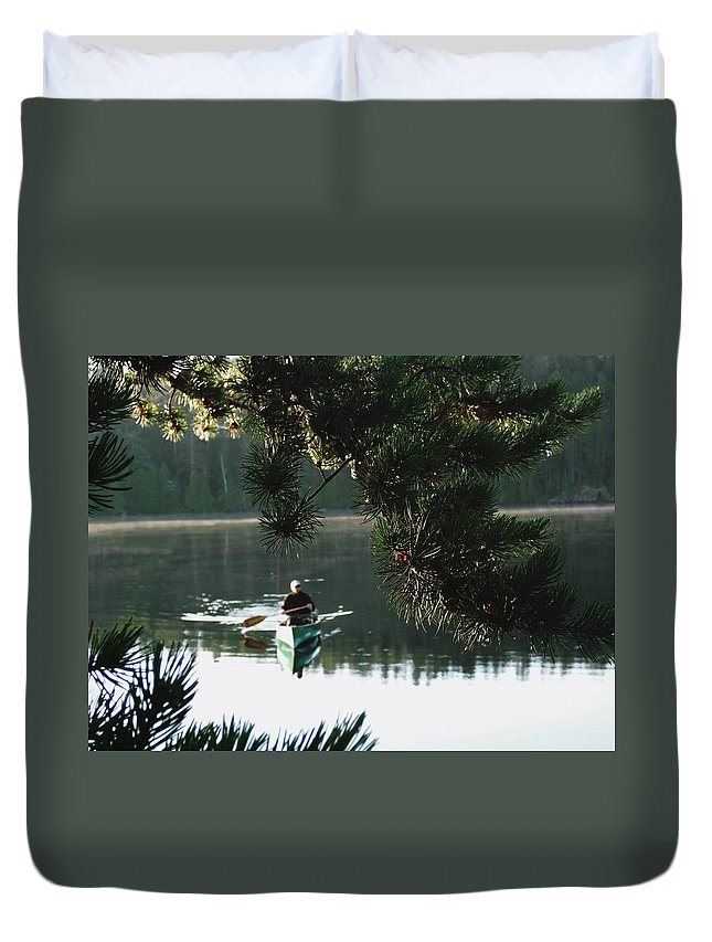 Canada Duvet Cover featuring the photograph Silent Paddler by June Goggins