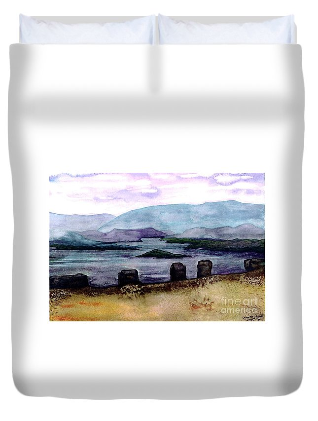 Original Painting Duvet Cover featuring the painting Silent Sentinels by Patricia Griffin Brett