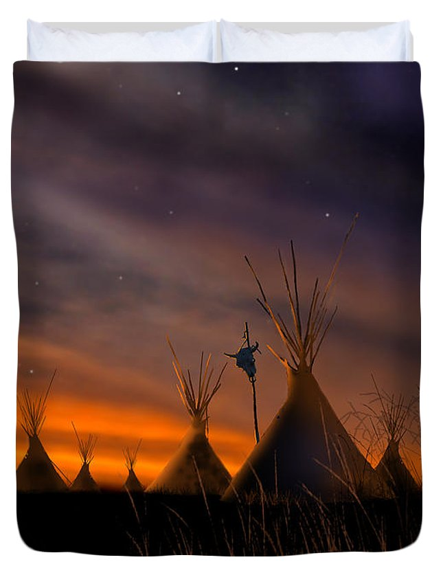 Native American Duvet Cover featuring the painting Silent Teepees by Paul Sachtleben