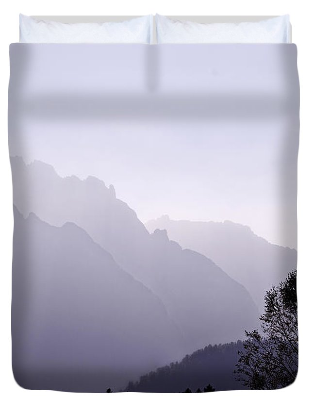 Mountain Silhouette Duvet Cover featuring the photograph Silhouette Austria Europe by Sabine Jacobs