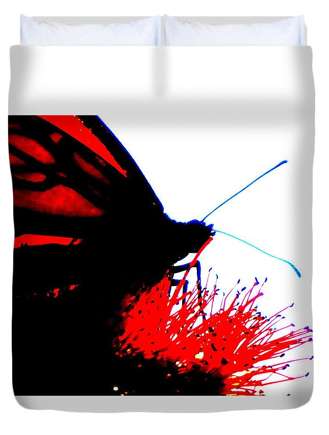 Digital Photograph Duvet Cover featuring the digital art Silhouette Monarch With Red by Laurie Pike