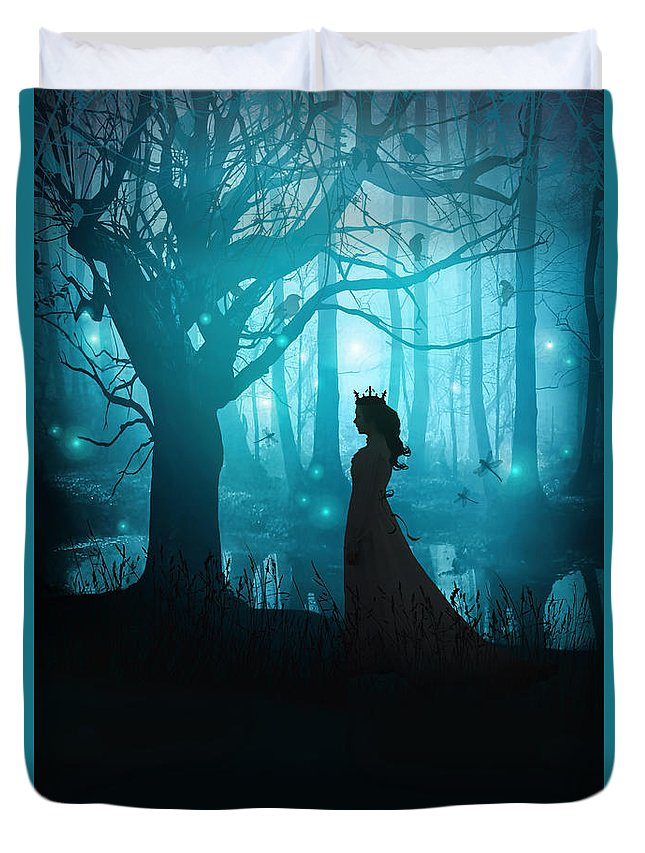 Alone Duvet Cover featuring the photograph Silhouette Of A Womanin In A Forest At Twilight by Sandra Cunningham