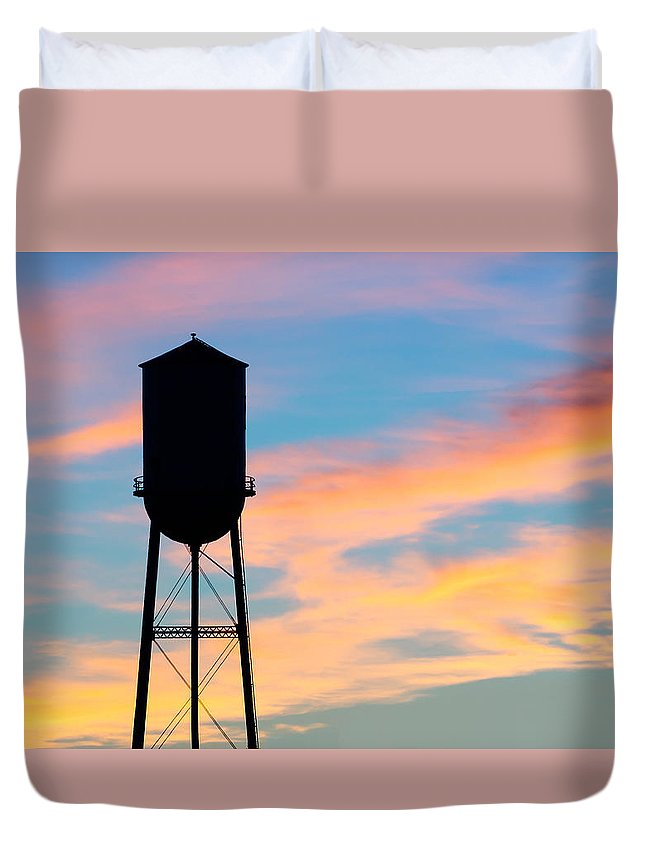 Water Tower Duvet Cover featuring the photograph Silhouette Of Small Town Water Tower by Todd Klassy