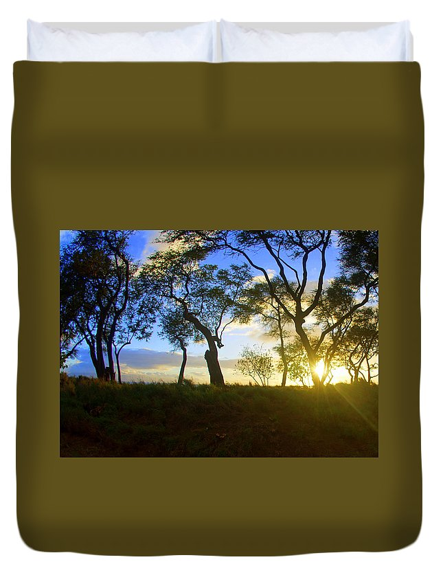 Duvet Cover featuring the photograph Silhouette Of Trees by Todd Hummel