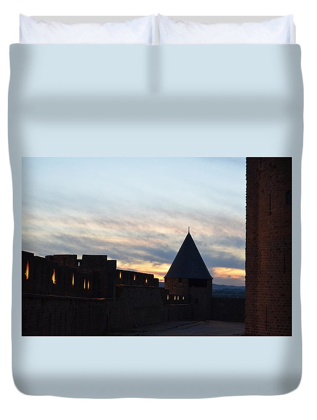 Silhouetted Duvet Cover featuring the photograph Silhouetted Castle by Dawn Crichton