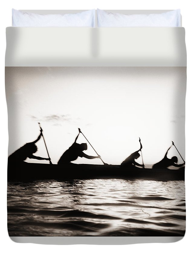 02-pfs0044 Duvet Cover featuring the photograph Silhouetted Paddlers by Bob Abraham - Printscapes