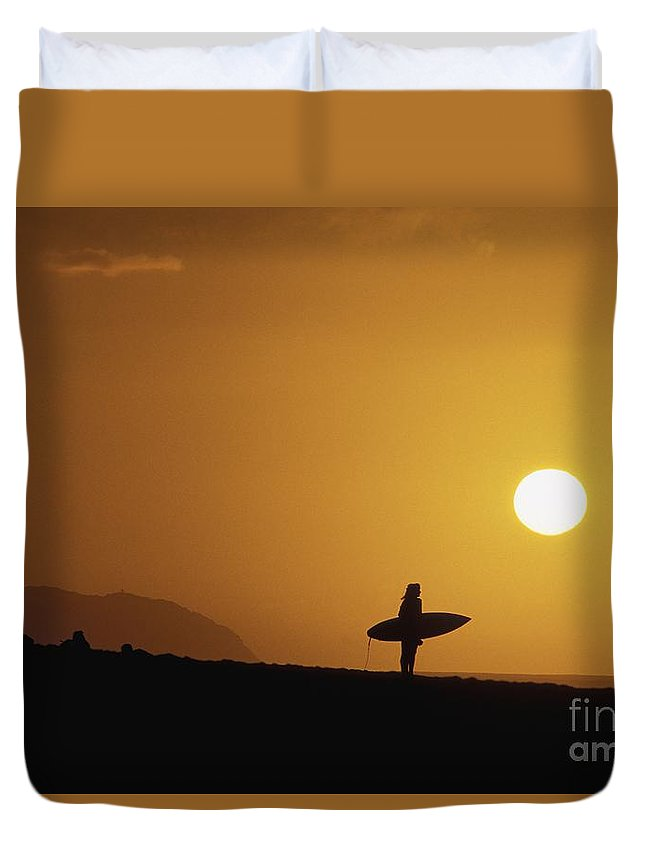 Ali O Neal Duvet Cover featuring the photograph Silhouetted Surfer by Ali ONeal - Printscapes