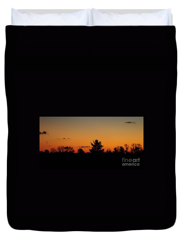 Nature Duvet Cover featuring the photograph Silhouettes At Dawn by Joe Ng