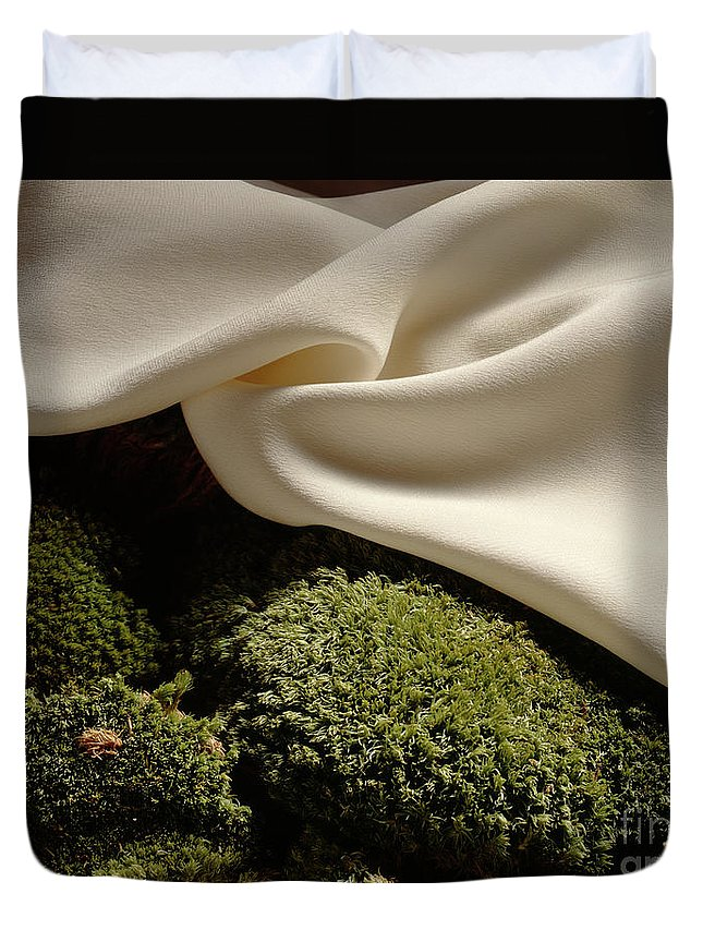 Abstract; Arty; Composition; Creative; Horizontal; Original; Still Life; Visual Art Duvet Cover featuring the photograph Silk And Moss by Stefania Levi