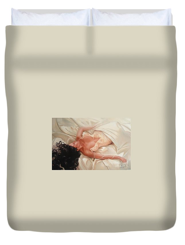 Art Duvet Cover featuring the painting Silk And Thrill by Sergey Ignatenko