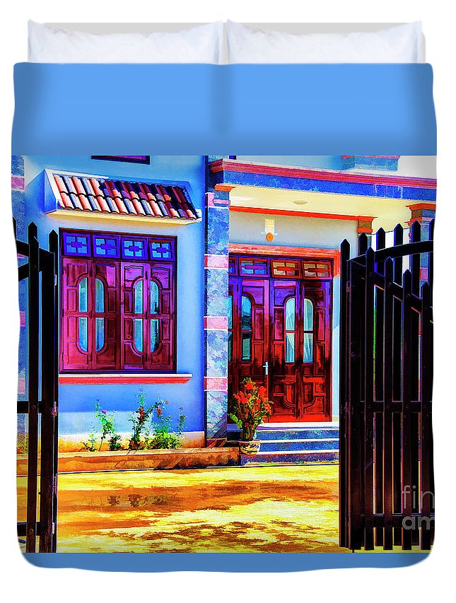 Viet Nam Buildings Colonial Architecture Duvet Cover featuring the photograph Silk Factory Owners Home by Rick Bragan