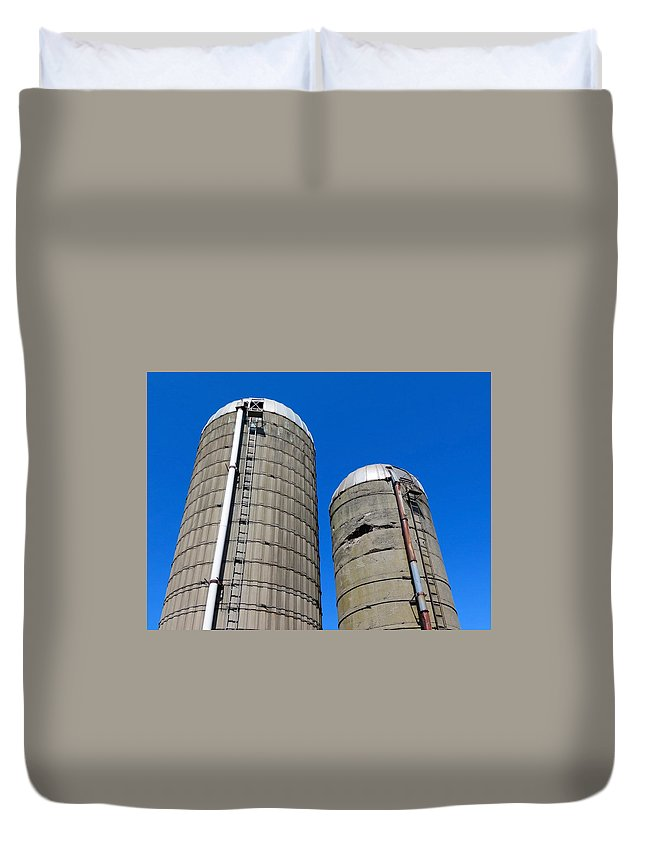 Silo Duvet Cover featuring the photograph Silos by Kenneth Summers
