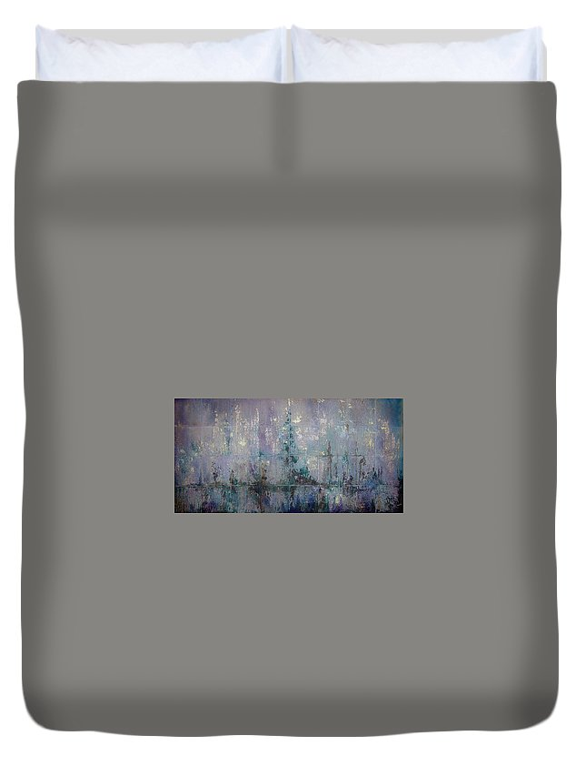 Abstract Duvet Cover featuring the painting Silver And Silent by Shadia Derbyshire
