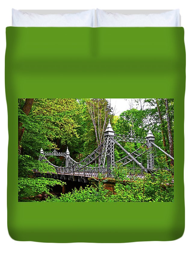 Mill Creek Park Duvet Cover featuring the photograph Silver Bridge 004 by George Bostian