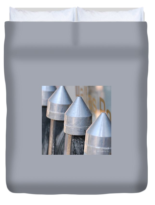 Gate Duvet Cover featuring the photograph Silver Bullets by Debbi Granruth