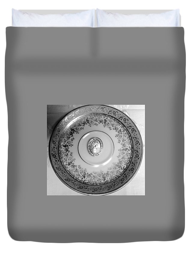 Duvet Cover featuring the photograph Silver Cameo Plate by Jacqueline Manos