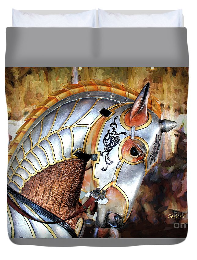 Horse Duvet Cover featuring the mixed media Silver Carousel Horse II by Garland Johnson