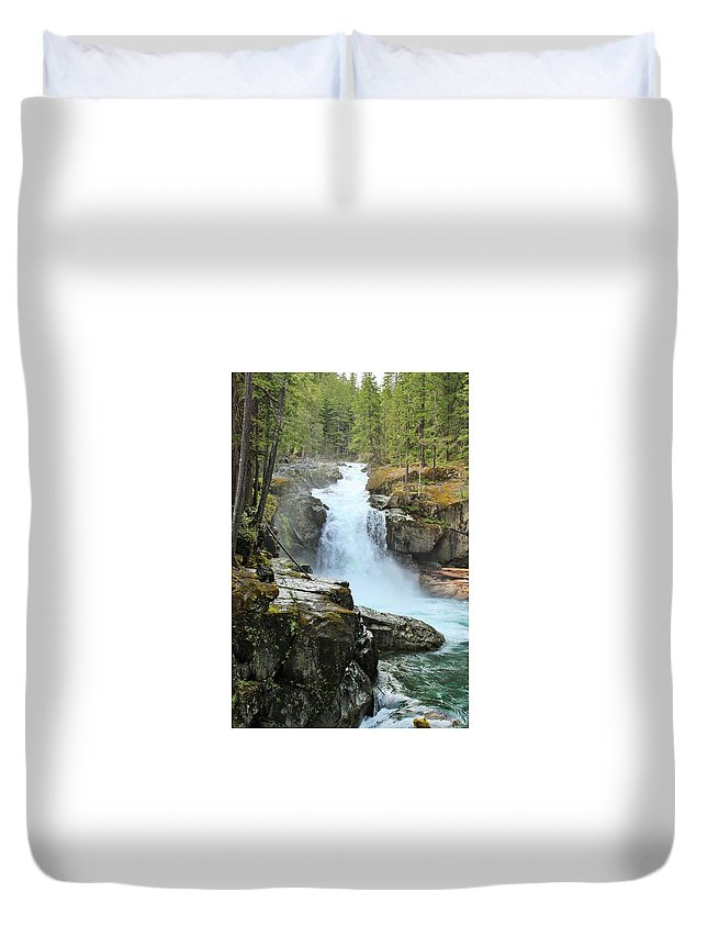 Silver Falls Duvet Cover featuring the photograph Silver Falls by LKB Art and Photography