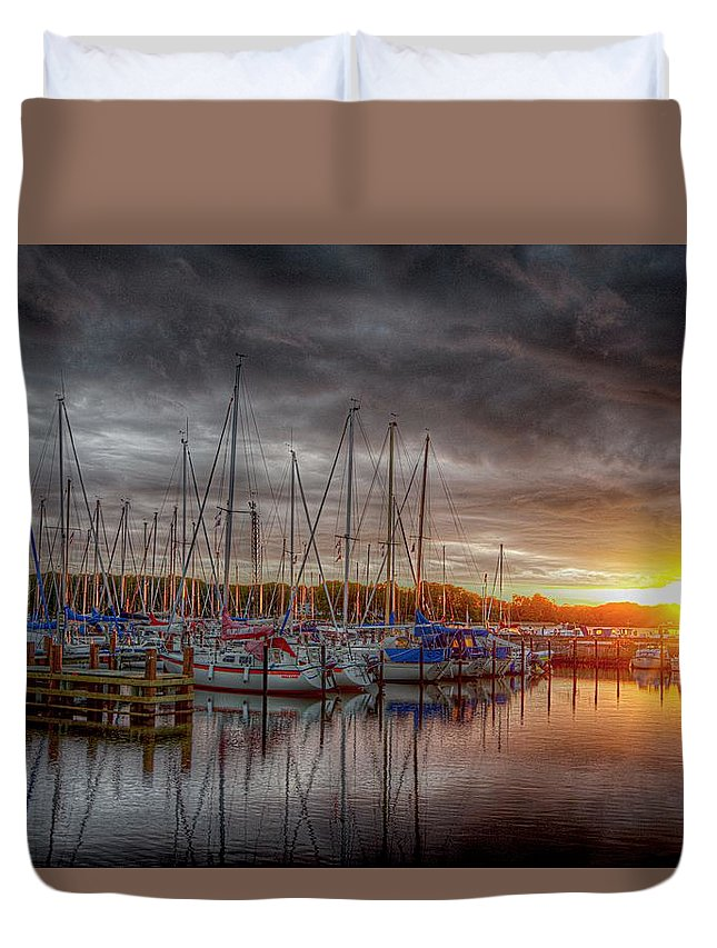 Boats Duvet Cover featuring the photograph Silver Harbor Skies by Karen McKenzie McAdoo